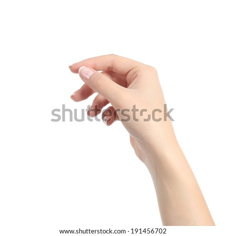 Woman hand holding some like a blank card isolated on a white background #191456702
