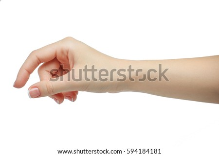 Shutterstock Woman hand holding some like a blank card isolated on a white background. manicured hand