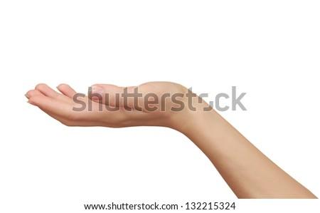 Woman hand holding something empty isolated on white background
