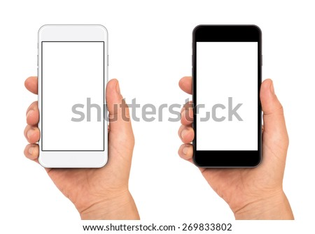 Woman hand holding the black and white smartphone. #269833802