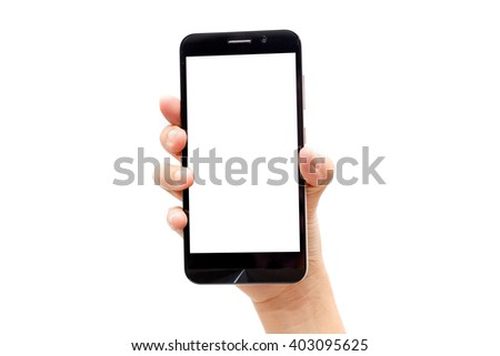 Woman hand holding the black smartphone isolated on white background #403095625