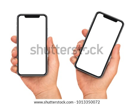Woman hand holding the black smartphone with blank screen and modern frame less design - isolated on white background #1013350072
