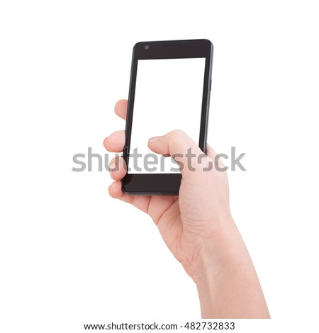 Woman hand holding the black smartphone with blank screen, isolated on white background. #482732833