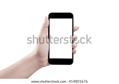 Woman hand holding the smartphone, isolated #414801676