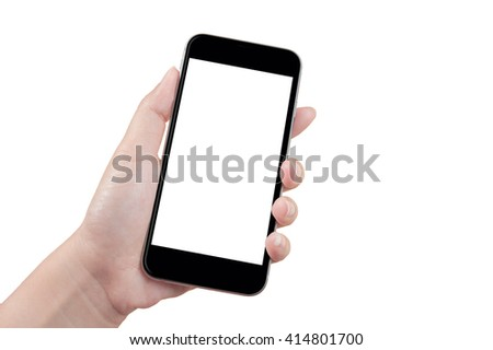 Woman hand holding the smartphone, isolated #414801700