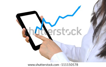 woman hand holding touch pad PC and business graph