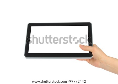 Woman hand holding touch screen device on white background