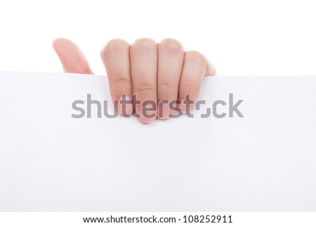 Woman hand holding white empty paper isolated on white background