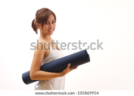 woman hand holding yoga mat for healthy fitness yoga workout