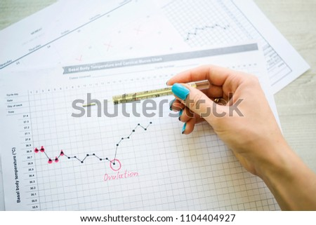 woman hand holds thermometer over calendar basal temperature , Concept of fertility chart, trying to have baby and natural contraception, Reminder Ovulation in graph, Planning of pregnancy, menstrual Stock photo ©