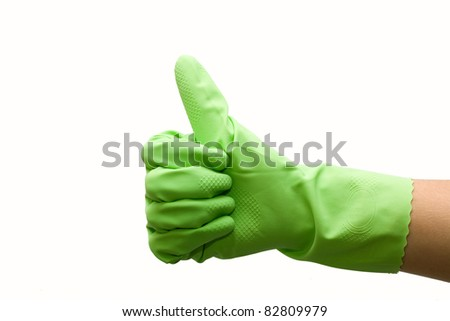 Woman hand in green rubber glove gesturing ok (yes) isolated on white background