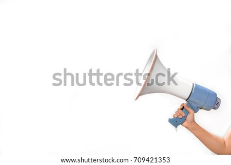 woman hand is holding megaphone on white background,announcement concept in business topic,selective focus,copy space