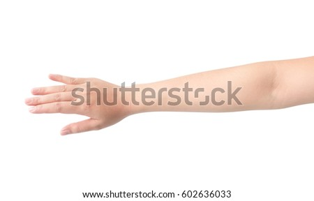 Woman hand isolate on white background, health care and beauty concept