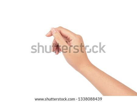 Woman hand isolated on white background.