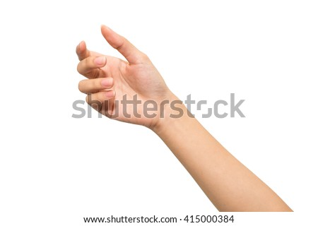 Woman hand isolated on white background , hold or catch #415000384