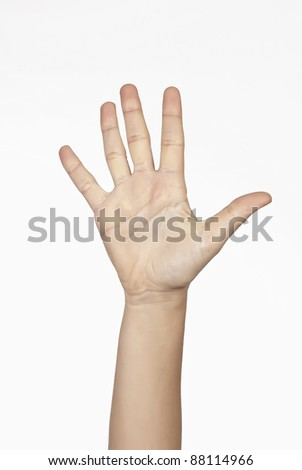 Woman hand isolated on white background with clipping path