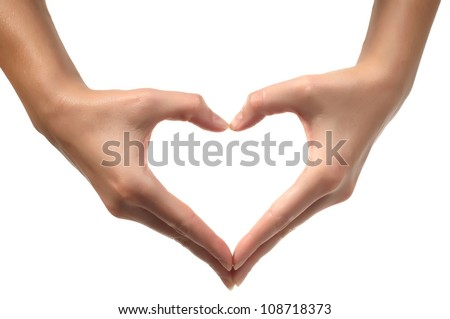 Woman hand making sign Heart isolated on white background