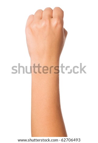 Woman hand making sign. Isolated on white background