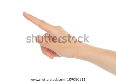 Woman hand on white background
