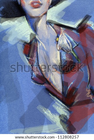 Woman . Hand painted fashion illustration