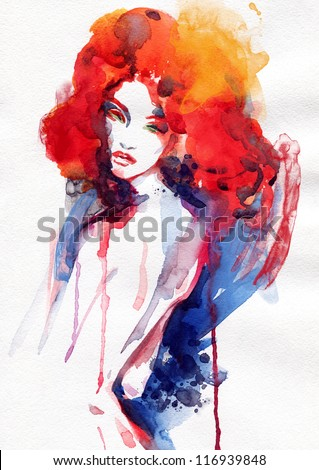 Woman . Hand painted fashion illustration