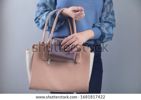 woman hand pink bag with wallet on grey background Сток-фото ©