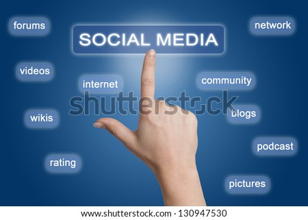woman hand pointing to a social media button on blue background
