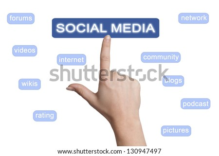 woman hand pointing to a social media button on white background