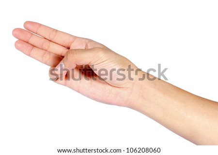 Woman Hand pointing, touching or pressing isolated on white. Caucasian female.