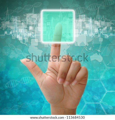 Woman hand press on blank icon on medical background
