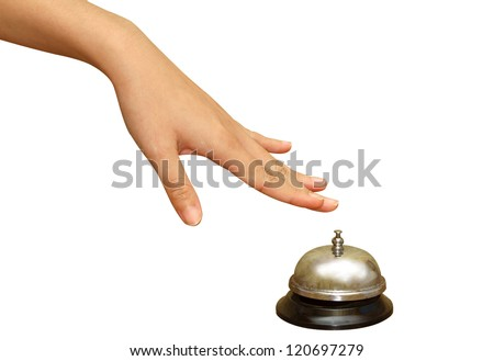 woman hand pressing  a hotel service bell in  isolated background,Hand of a businessperson using a hotel bell
