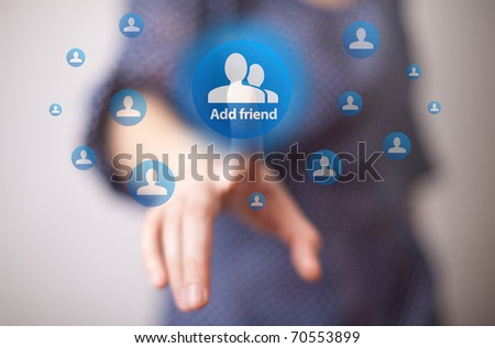 woman hand pressing add friend button