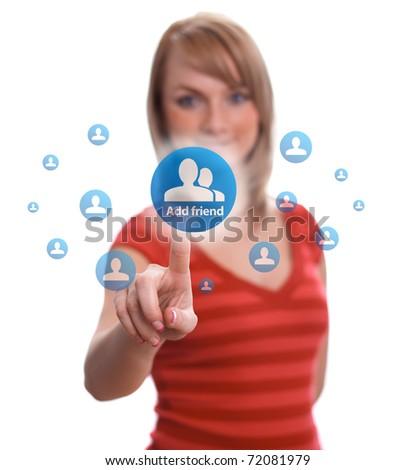 woman hand pressing add friend button