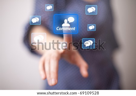 woman hand pressing COMMENT icon
