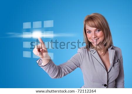 woman hand pressing digital buttons