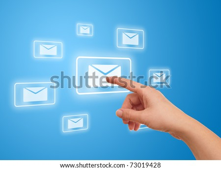 woman hand pressing e-mail icon