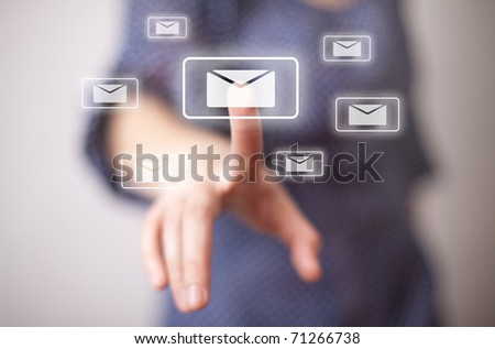 woman hand pressing e-mail sign