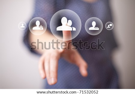 woman hand pressing friends button