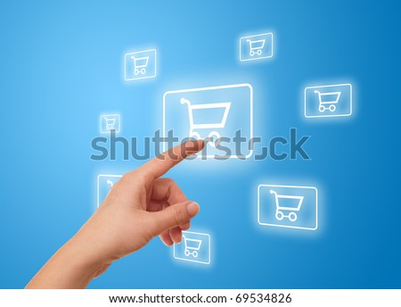 woman hand pressing shopping cart icon - stock photo