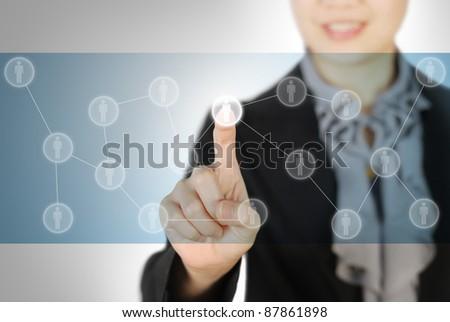 woman hand pressing Social Network screen