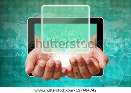 Woman hand pushing on touch screen interface ,background medical