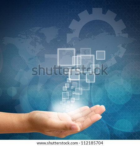Woman hand pushing on touch screen interface business background blue color