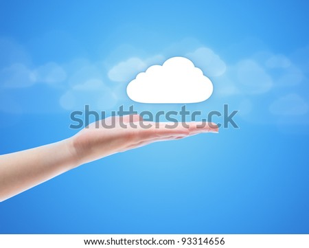 Woman hand share the cloud against blue background with clouds. Concept image on cloud computing theme with copy space.