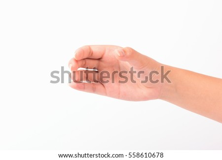 woman hand show holding something  isolated on white background.