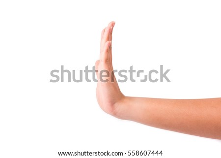 woman hand show stop sign isolated on white background.