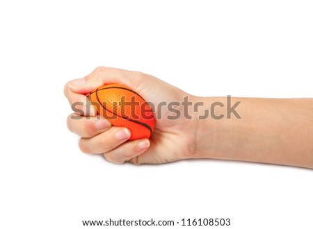 woman hand squeezing a stress ball,Abstract meaning being pressured