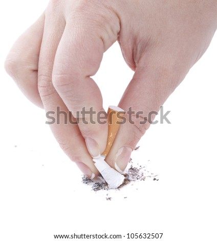 Woman hand stub out a cigarette