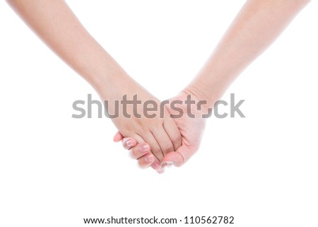 Woman hand touches hand isolated on white background.