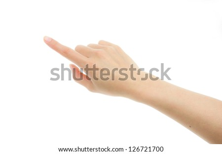 Woman hand touching screen Isolated on white background #126721700