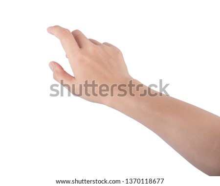Woman hand touching screen Isolated on white background